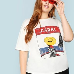 Shein French Girl in Yellow Hat Pop Art Tee Small